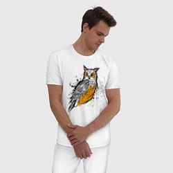 Пижама хлопковая мужская Зрячий филин цвета белый — фото 2