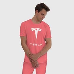 Пижама хлопковая мужская TESLA Mobile цвета коралловый — фото 2