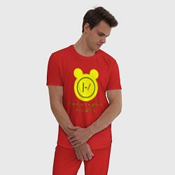 Пижама хлопковая мужская 21 Pilots: Yellow Mouse цвета красный — фото 2