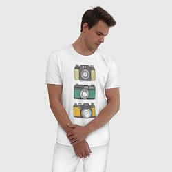 Пижама хлопковая мужская Реальный фотограф цвета белый — фото 2