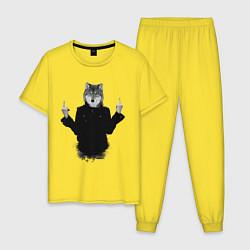 Пижама хлопковая мужская Fuck wolf цвета желтый — фото 1
