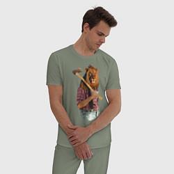 Пижама хлопковая мужская Lion lumberjack цвета авокадо — фото 2