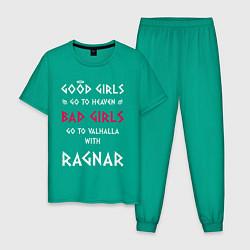 Пижама хлопковая мужская Go to walhalla цвета зеленый — фото 1