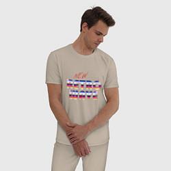 Пижама хлопковая мужская New Retro Wave Epic цвета миндальный — фото 2
