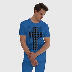 Пижама хлопковая мужская Swag- крест цвета синий — фото 2