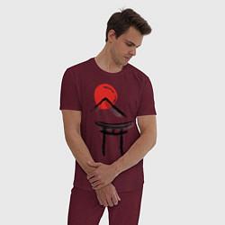 Пижама хлопковая мужская Японский стиль цвета меланж-бордовый — фото 2