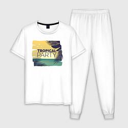 Пижама хлопковая мужская Тропическое лето цвета белый — фото 1