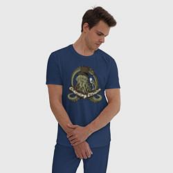 Пижама хлопковая мужская Charming Cthulhu цвета тёмно-синий — фото 2