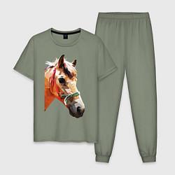 Пижама хлопковая мужская Лошадь цвета авокадо — фото 1