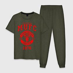 Пижама хлопковая мужская Манчестер Юнайтед цвета меланж-хаки — фото 1