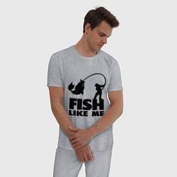 Пижама хлопковая мужская Fish like me цвета меланж — фото 2