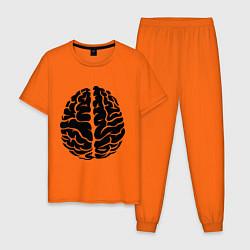 Пижама хлопковая мужская Он: мозг цвета оранжевый — фото 1