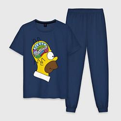 Пижама хлопковая мужская Мозг Гомера цвета тёмно-синий — фото 1