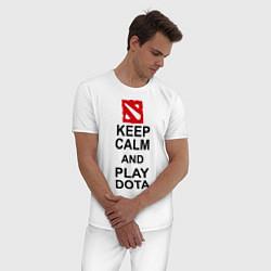 Пижама хлопковая мужская Keep Calm & Play Dota цвета белый — фото 2