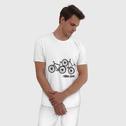 Пижама хлопковая мужская Bike Love цвета белый — фото 2