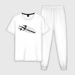 Пижама хлопковая мужская Star Wars Ships цвета белый — фото 1