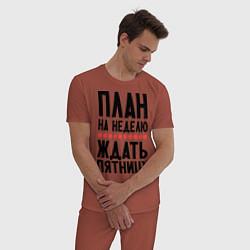 Пижама хлопковая мужская План на неделю цвета кирпичный — фото 2