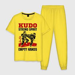 Пижама хлопковая мужская Kudo: Strong Spirit цвета желтый — фото 1