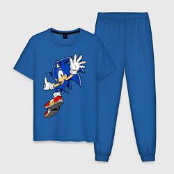 Пижама хлопковая мужская Sonic цвета синий — фото 1