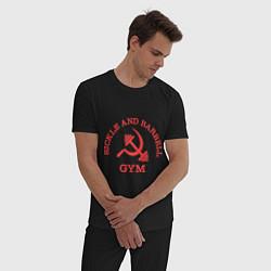 Пижама хлопковая мужская Sickle & Barbell: Gym цвета черный — фото 2