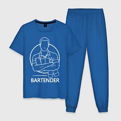 Пижама хлопковая мужская Bartender цвета синий — фото 1