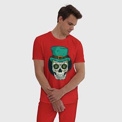 Пижама хлопковая мужская Череп Святого Патрика цвета красный — фото 2