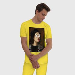 Пижама хлопковая мужская Raphael Hype цвета желтый — фото 2