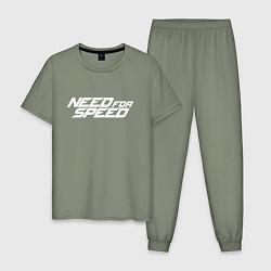 Пижама хлопковая мужская Need for Speed цвета авокадо — фото 1