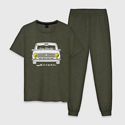 Пижама хлопковая мужская Жигули 2101 цвета меланж-хаки — фото 1