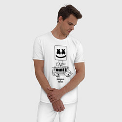 Пижама хлопковая мужская Marshmello X цвета белый — фото 2