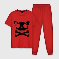 Пижама хлопковая мужская Кошачий пиратскй флаг цвета красный — фото 1