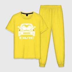Пижама хлопковая мужская Honda Civic EK 6 цвета желтый — фото 1
