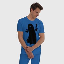 Пижама хлопковая мужская Приведение цвета синий — фото 2