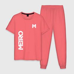 Пижама хлопковая мужская METRO M цвета коралловый — фото 1