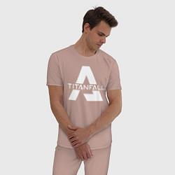 Пижама хлопковая мужская Apex Legends x Titanfall цвета пыльно-розовый — фото 2