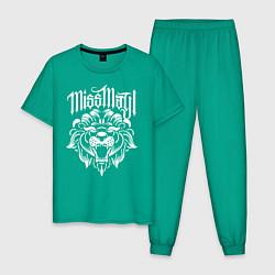 Пижама хлопковая мужская Miss May I: Angry Lion цвета зеленый — фото 1