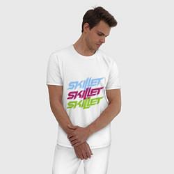 Пижама хлопковая мужская Skillet Tricolor цвета белый — фото 2