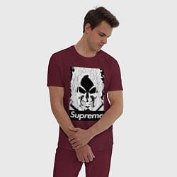 Пижама хлопковая мужская Supreme Skull цвета меланж-бордовый — фото 2