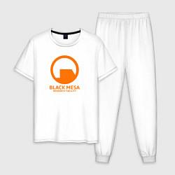 Пижама хлопковая мужская Black Mesa: Research Facility цвета белый — фото 1