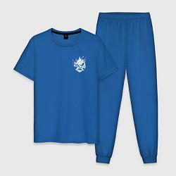 Пижама хлопковая мужская Cyberpunk Mask цвета синий — фото 1