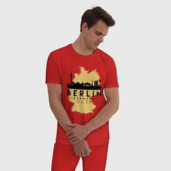 Пижама хлопковая мужская Берлин - Германия цвета красный — фото 2