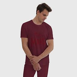 Пижама хлопковая мужская Mars цвета меланж-бордовый — фото 2