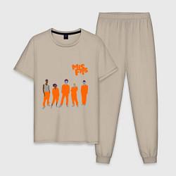 Пижама хлопковая мужская Misfits Orange цвета миндальный — фото 1