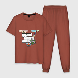 Пижама хлопковая мужская GTA 5: City цвета кирпичный — фото 1