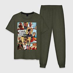 Пижама хлопковая мужская GTA 5: Stories цвета меланж-хаки — фото 1
