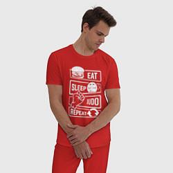 Пижама хлопковая мужская Есть, спать, дзюдо цвета красный — фото 2