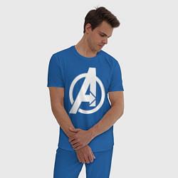 Пижама хлопковая мужская Avengers Symbol цвета синий — фото 2