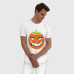 Пижама хлопковая мужская Хэллоуин тыква цвета белый — фото 2