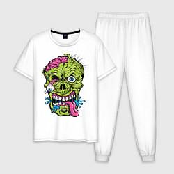 Пижама хлопковая мужская Scary mask цвета белый — фото 1