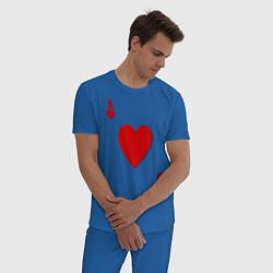 Пижама хлопковая мужская Червовый туз цвета синий — фото 2